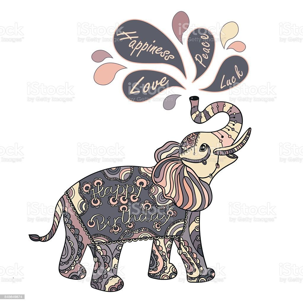 stylized fantasy patterned elephant stock vector art more images