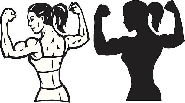 Stylized Female flexer and outline vector art illustration