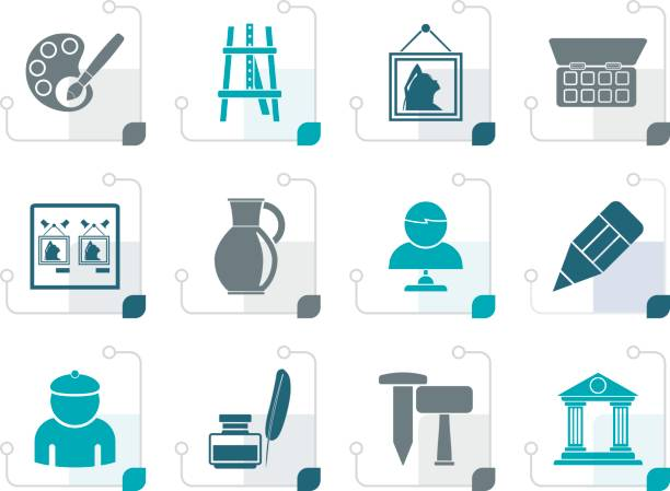 stilisierte kunst objekte symbole - hausfarbpaletten stock-grafiken, -clipart, -cartoons und -symbole