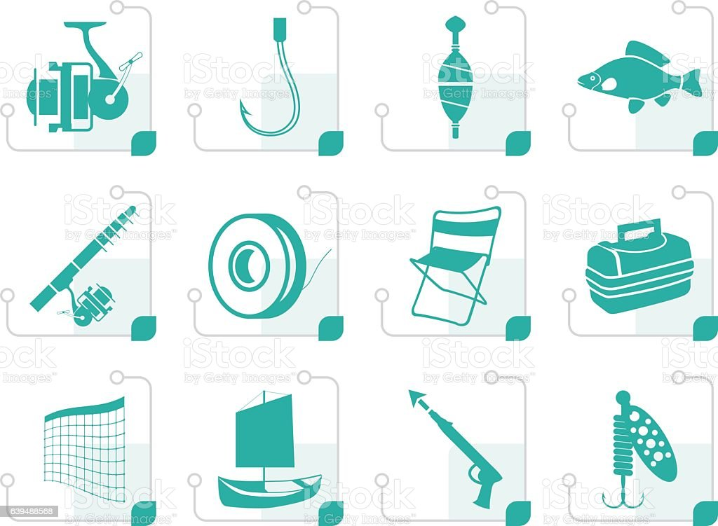 Stylized Fishing and holiday icons vector art illustration