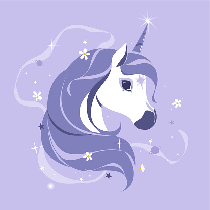 Stylized flat style unicorn. Modern pastel goth palette. Cute girly art. Vector.
