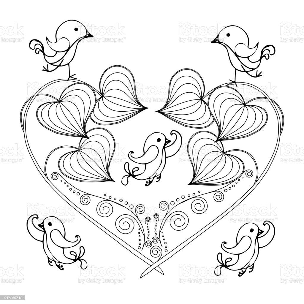 Stylized floral monochrome heart, birds, sketch, design element stock vector illustration for print, for tattoo vector art illustration