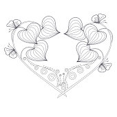 Stylized floral monochrome heart, butterfly, sketch, design element stock vector illustratio