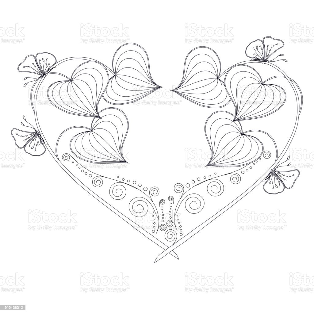 Stylized floral monochrome heart, butterfly, sketch, design element stock vector illustratio vector art illustration