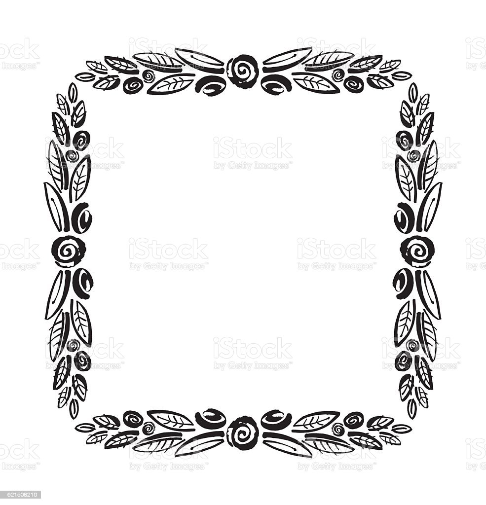 Stylized flowers frame isolated on a white background. Lizenzfreies stylized flowers frame isolated on a white background stock vektor art und mehr bilder von abschied
