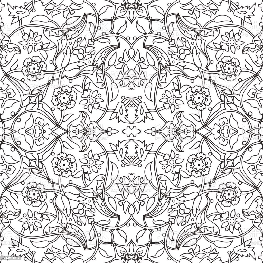 Stylized Flowers Oriental Doodle Wallpaper Seamless Abstract Background Vector Decoration Tile Print Tribal Floral
