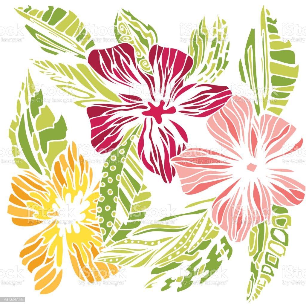 Croquis De Fleurs Stylisées Dessin De Couleur Vecteurs