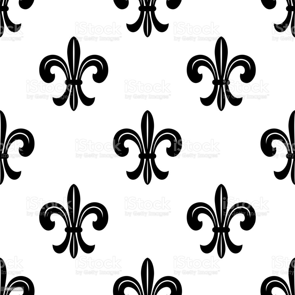 Stylise Francais Fleur De Lys Motif Sans Couture Cliparts