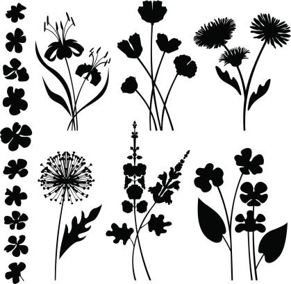 Stylized garden flowers