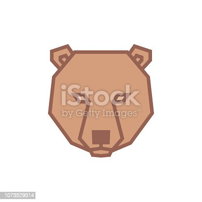 istock Stylized geometric Bear head illustration. Vector icon tribal design 1073529314