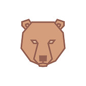 istock Stylized geometric Bear head illustration. Vector icon tribal design 1073529314