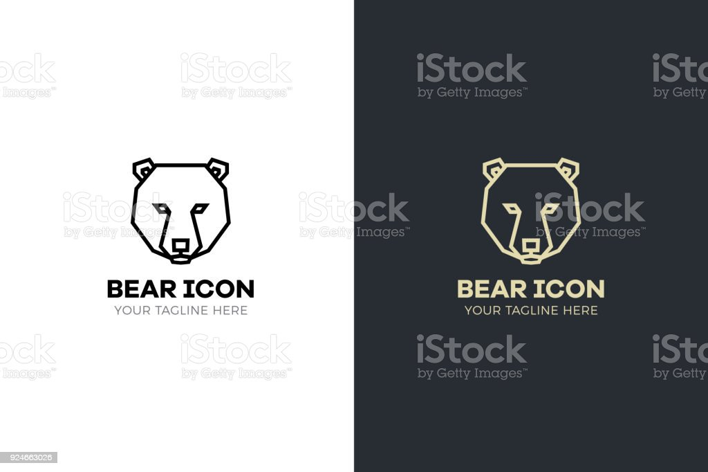 Stylized geometric Bear head illustration. Vector icon tribal design vector art illustration