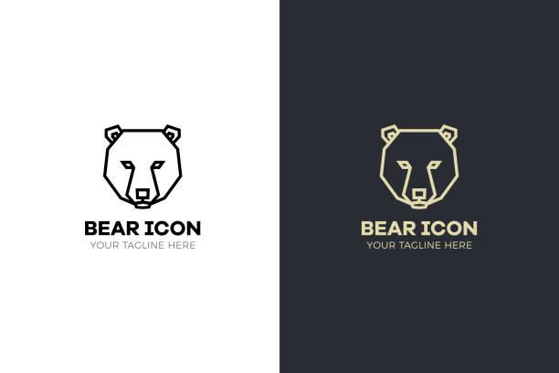 Stylized geometric Bear head illustration. Vector icon tribal design vector art illustration