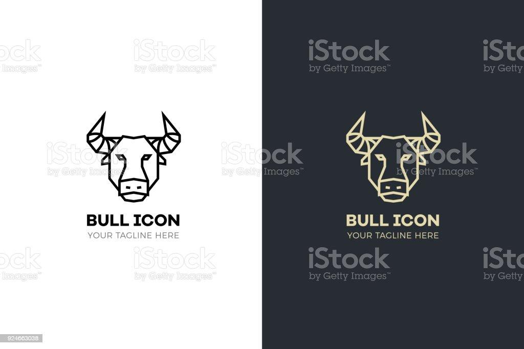 Stylized geometric Bull head illustration. Vector icon tribal design vector art illustration