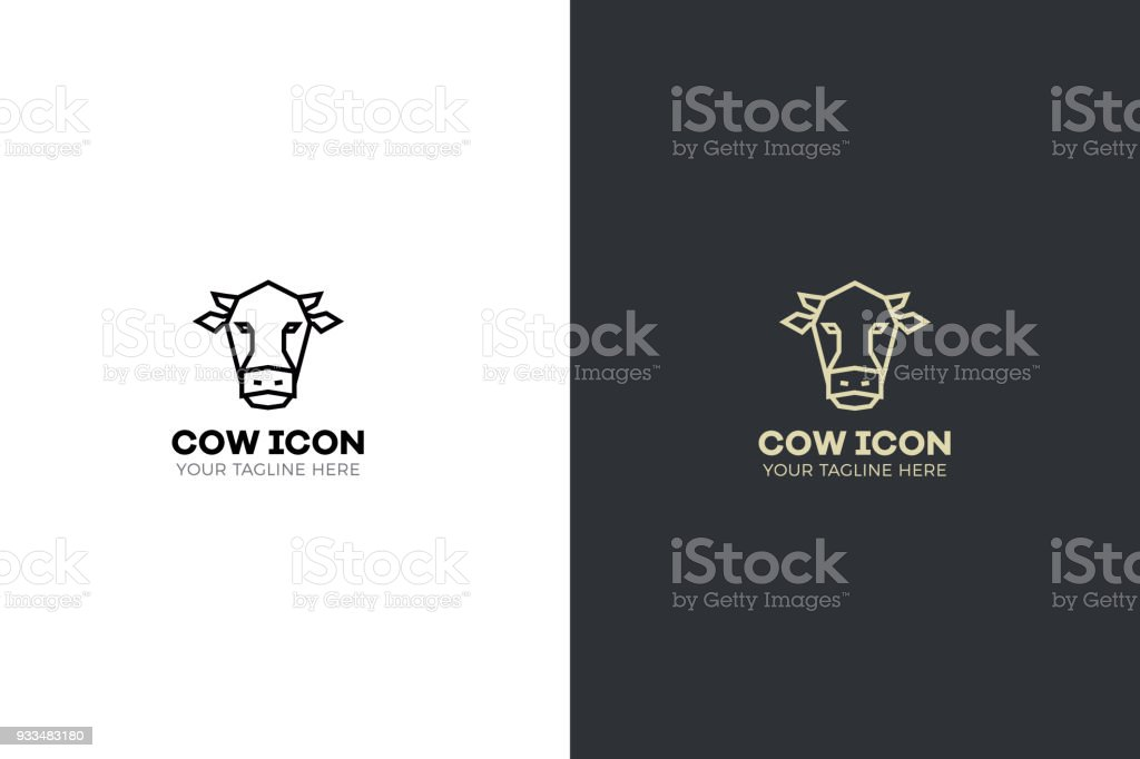 Stylized geometric cow head illustration. Vector icon tribal design vector art illustration