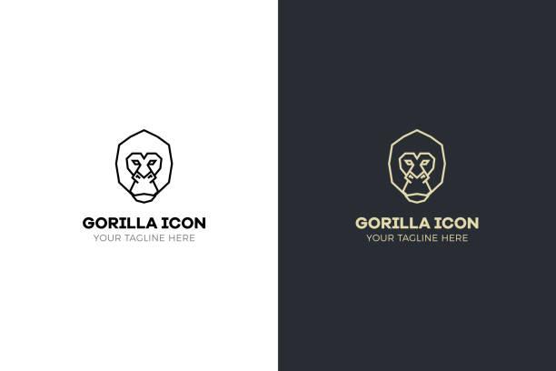 ilustraciones, imágenes clip art, dibujos animados e iconos de stock de estilizadas geométricas gorila cabeza ilustración. diseño del mono tribal vector icono - gorila