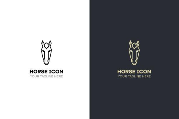 ilustraciones, imágenes clip art, dibujos animados e iconos de stock de estilizada ilustración de cabeza de caballo geométrica. diseño tribal de vector icono - caballo