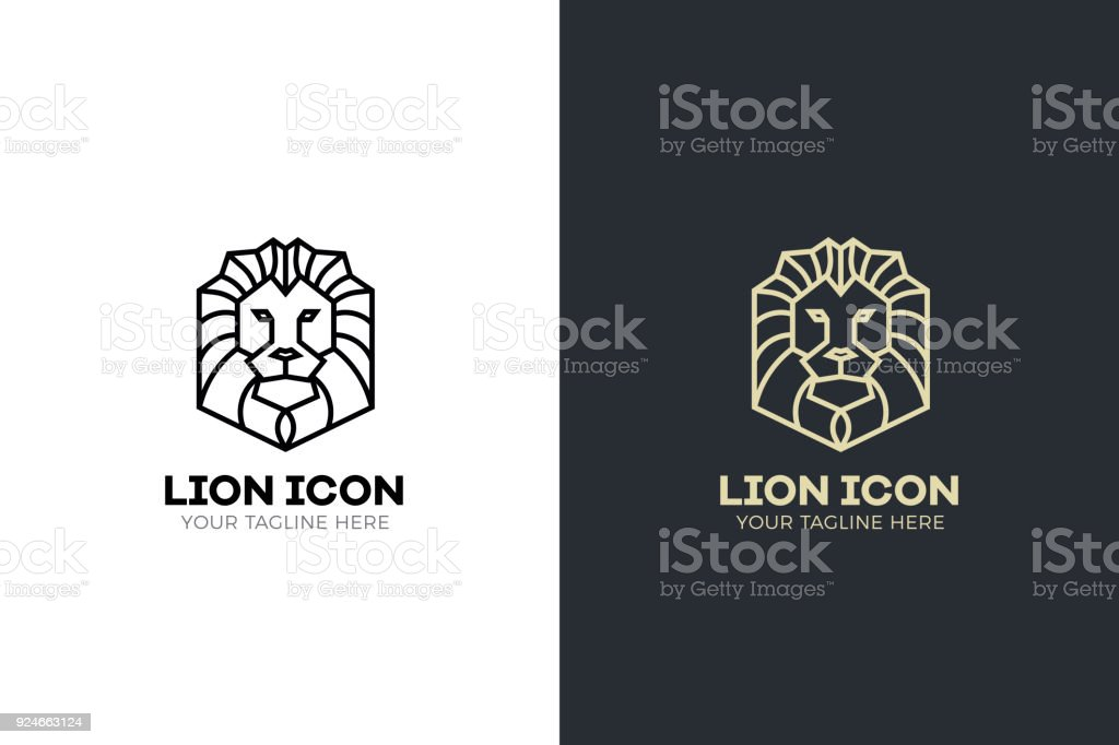 Stylized geometric Lion head illustration. Vector icon tribal design