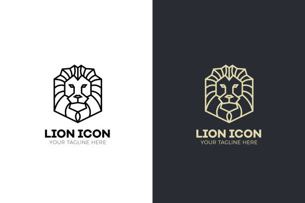 stylized geometric lion head illustration. vector icon tribal design - lion stock illustrations, clip art, cartoons, & icons
