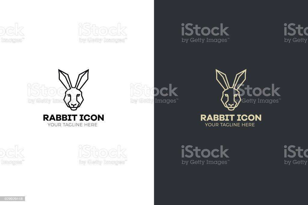 Stylized geometric Rabbit head illustration. Vector icon tribal hare design