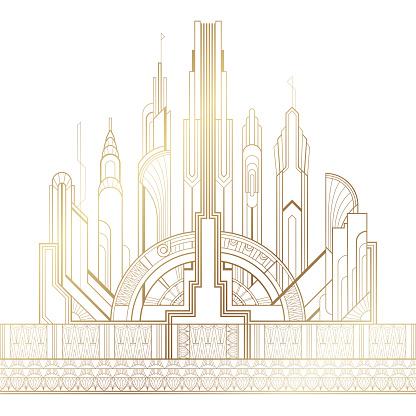Stylized gold art deco illustration of the city on white background
