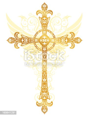 Lacy stylized gold cross with background of angel wings and swirls.