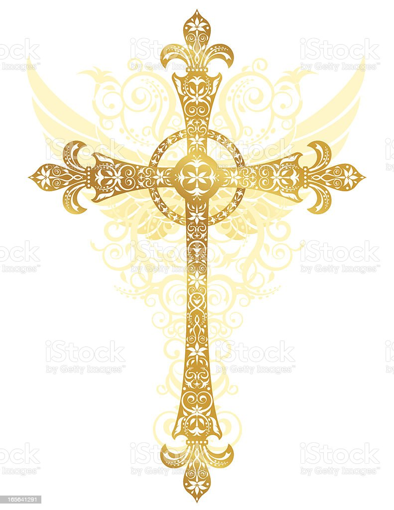 Stylized Gold Cross vector art illustration