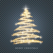 Stylized gold sparkle Merry Christmas tree silhouette from shiny circle particles on black transparent background. Vector golden christmas fir illustration eps10