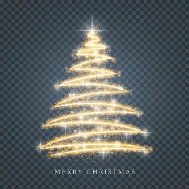 ilustrações de stock, clip art, desenhos animados e ícones de stylized gold merry christmas tree silhouette from shiny circle particles on black transparent background. vector golden christmas fir illustration eps10 - christmas tree