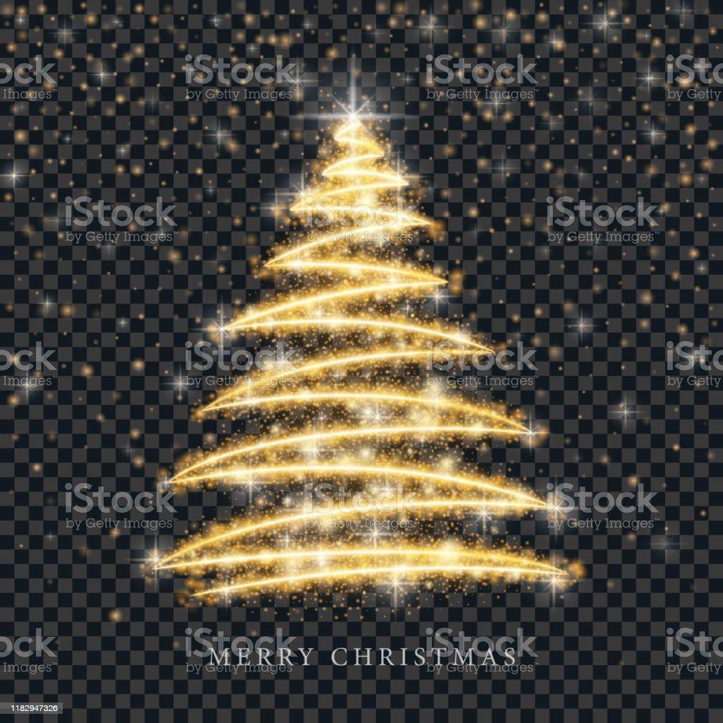 Stilisierte gold Frohe Weihnachtsbaum Silhouette aus glänzenden Kreis Partikel auf schwarzem transparenten Hintergrund. Vektor goldene Weihnachten Tanne Illustration - Lizenzfrei Abstrakt Vektorgrafik