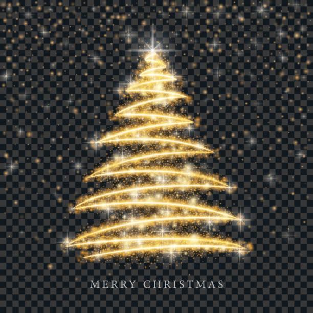 stockillustraties, clipart, cartoons en iconen met gestileerde gouden merry christmas tree silhouet van glanzende cirkel deeltjes op zwarte transparante achtergrond. vector gouden kerst fir illustratie - kerstboom