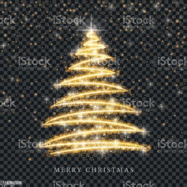 Stilisierte Gold Frohe Weihnachtsbaum Silhouette Aus Glänzenden Kreis Partikel Auf Schwarzem Transparenten Hintergrund Vektor Goldene Weihnachten Tanne Illustration Stock Vektor Art und mehr Bilder von Abstrakt