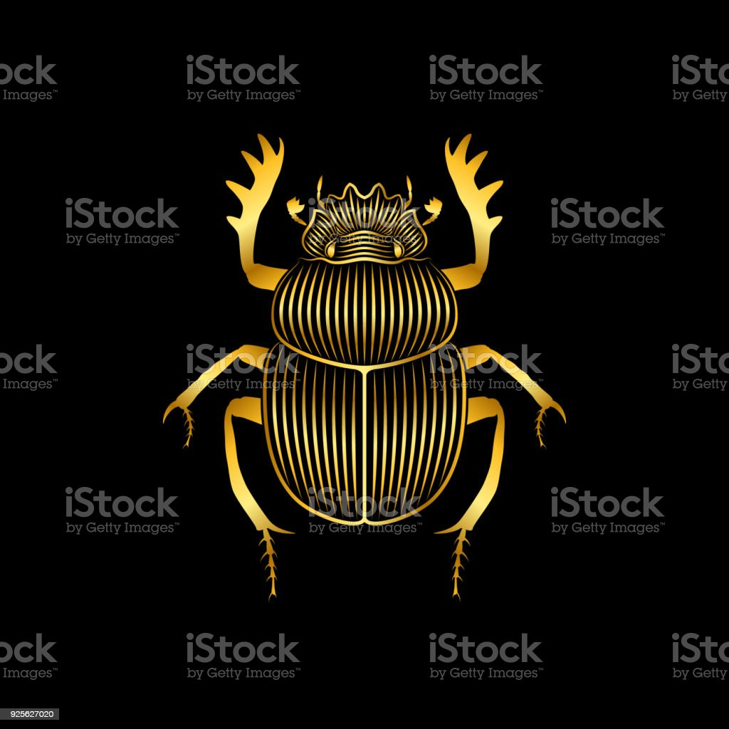 Ilustración de Escarabajo Oro Estilizada Sobre Fondo Negro y más ...
