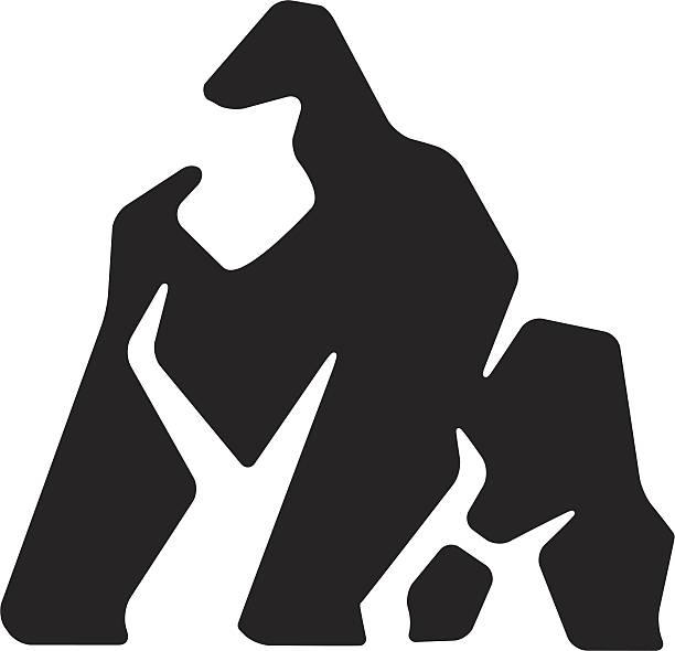 ilustraciones, imágenes clip art, dibujos animados e iconos de stock de gorila diseño estilizado - gorila