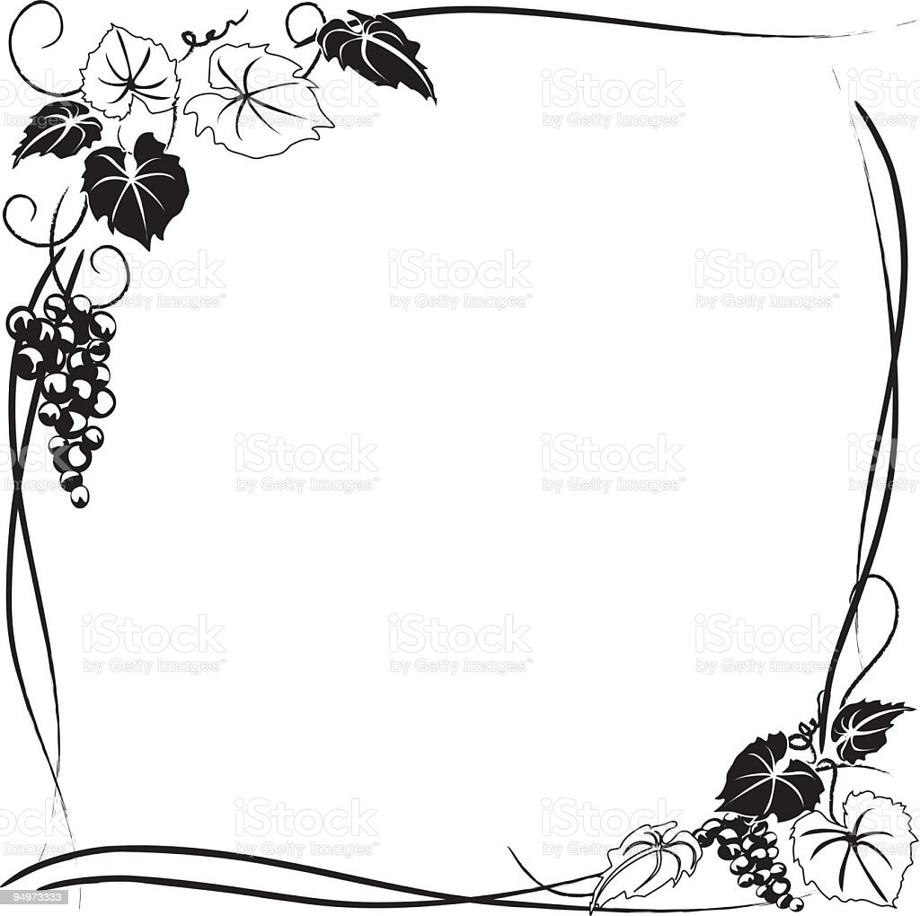 Stylized Grapevine Frame With Grape Bunches Leaves And ...