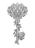 Stylized graphic key in floral pattern