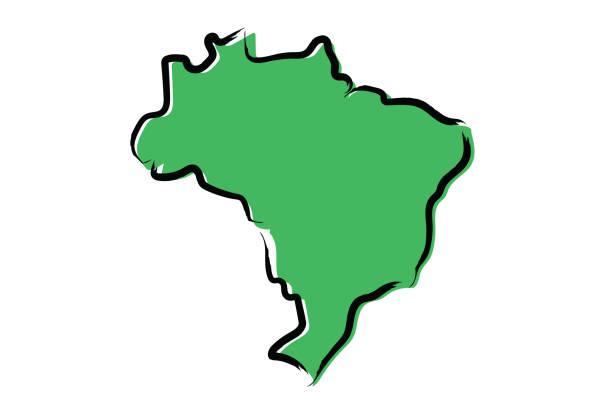 ilustrações, clipart, desenhos animados e ícones de mapa do brasil de esboço estilizada verde - brazil