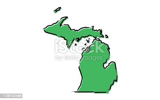 istock Stylized green sketch map of Michigan 1138132488