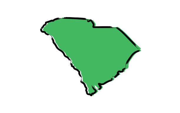 Stylized green sketch map of South Carolina Stylized green sketch map of South Carolina illustration vector south carolina stock illustrations