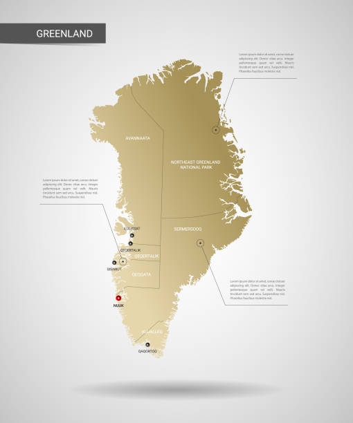 Stylized Greenland map vector illustration. Stylized vector Greenland map.  Infographic 3d gold map illustration with cities, borders, capital, administrative divisions and pointer marks, shadow; gradient background. greenland stock illustrations