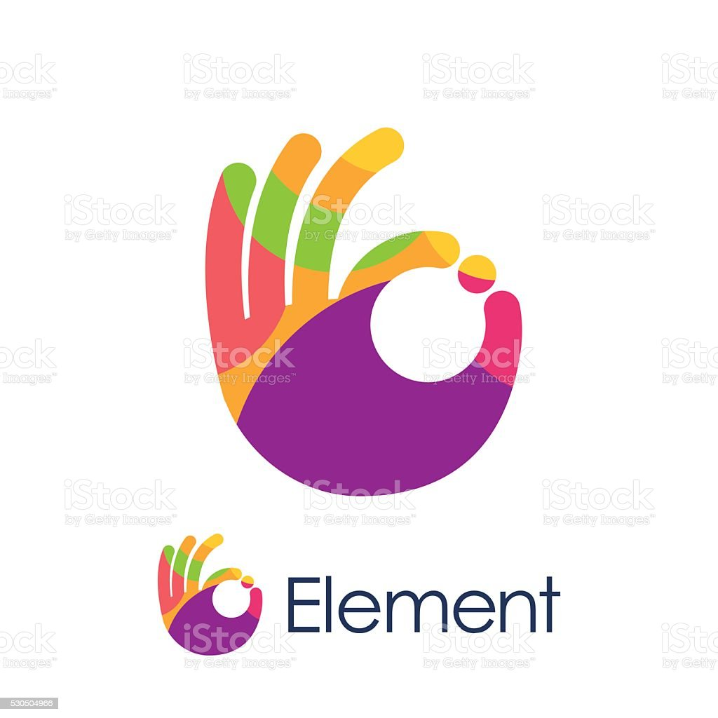 Stylized hand OK sign colored circles logo vector art illustration