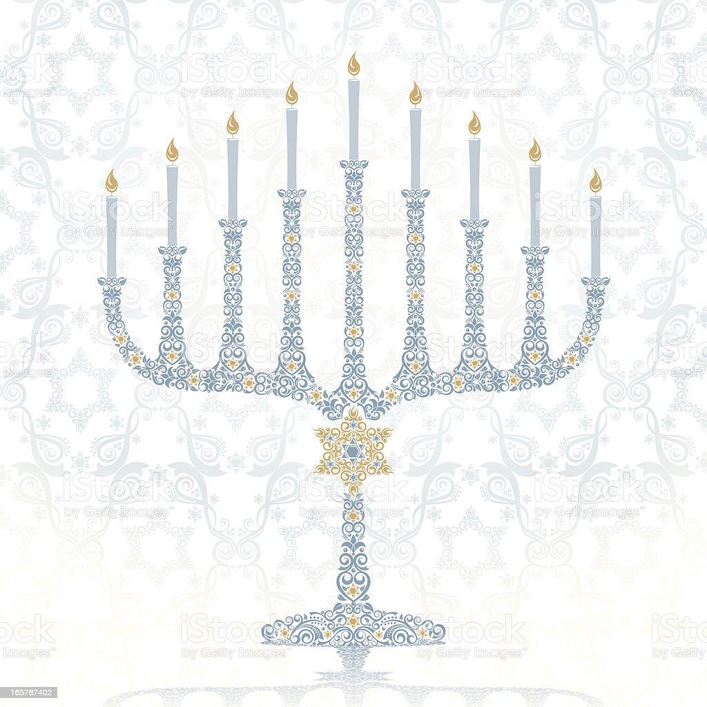 Stylized Hanukkah Menorah vector art illustration