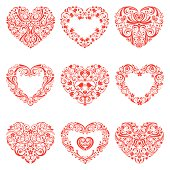 Nine Lacy Style Hearts. Easy to change color. Some have room for your text or monogram.