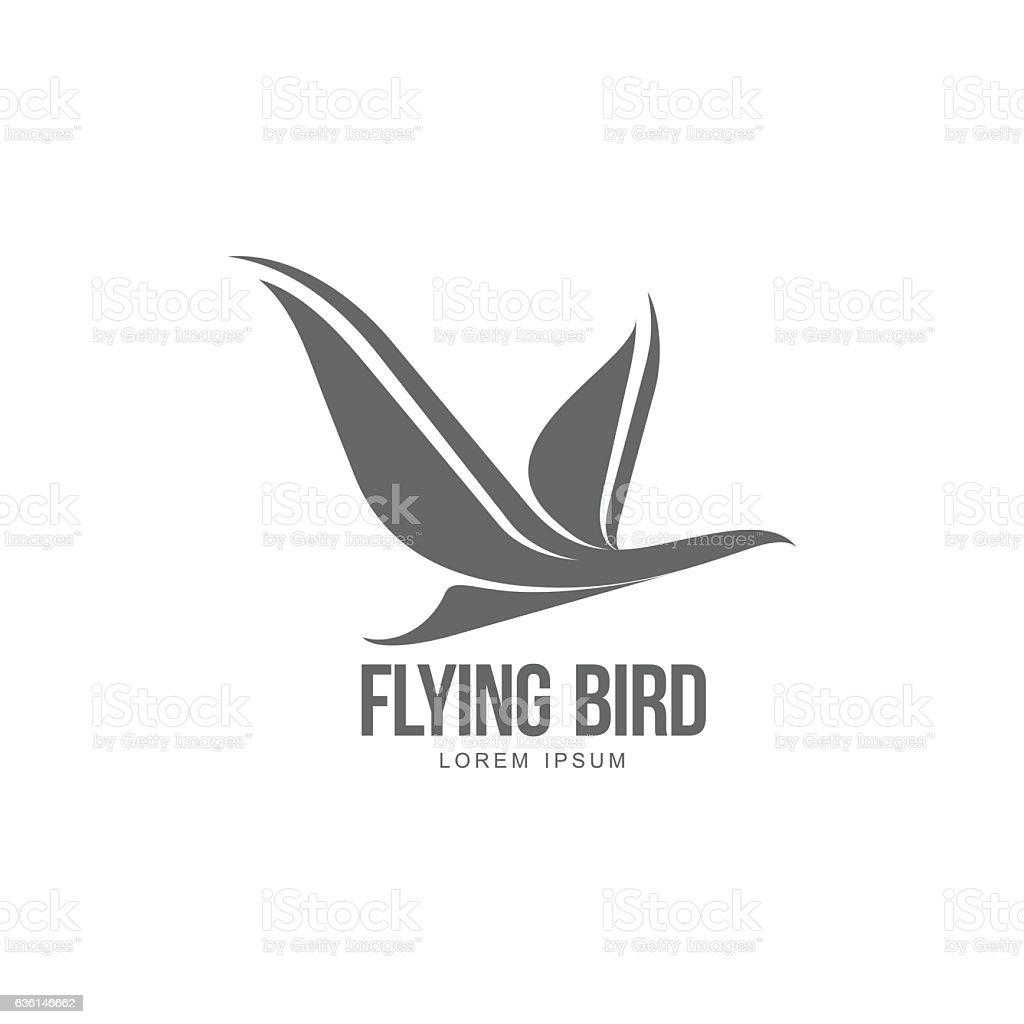 Stylized heron, crane, stork silhouette logo template vector art illustration