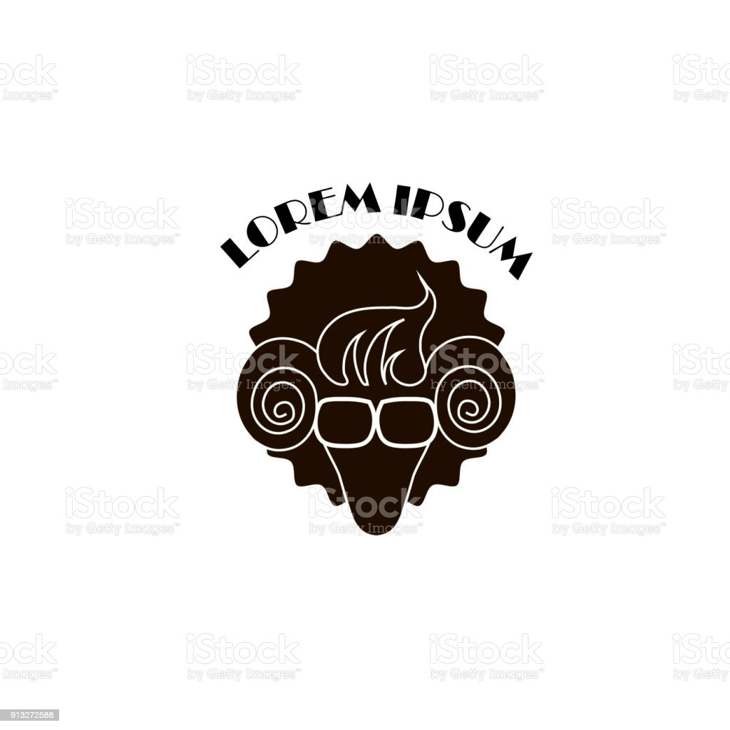 Stylized Hipster Sheep Template Logo Lorem Ipsum Black On White ...