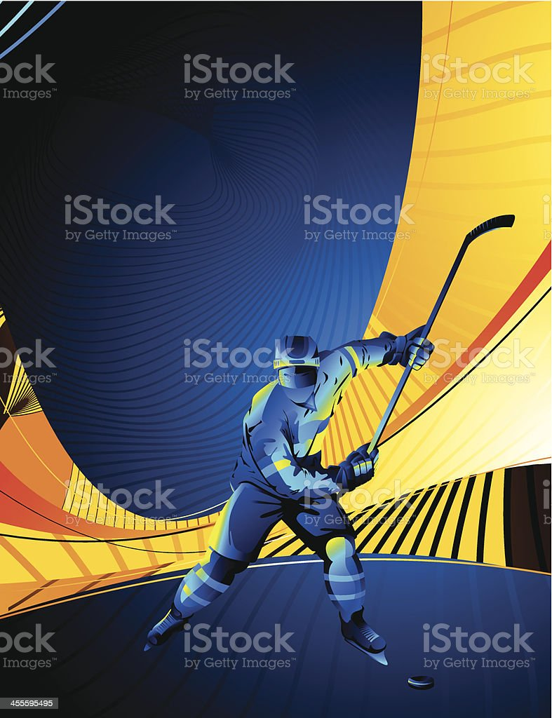 Stylized hockey player on an orange and blue background royalty-free stock vector art