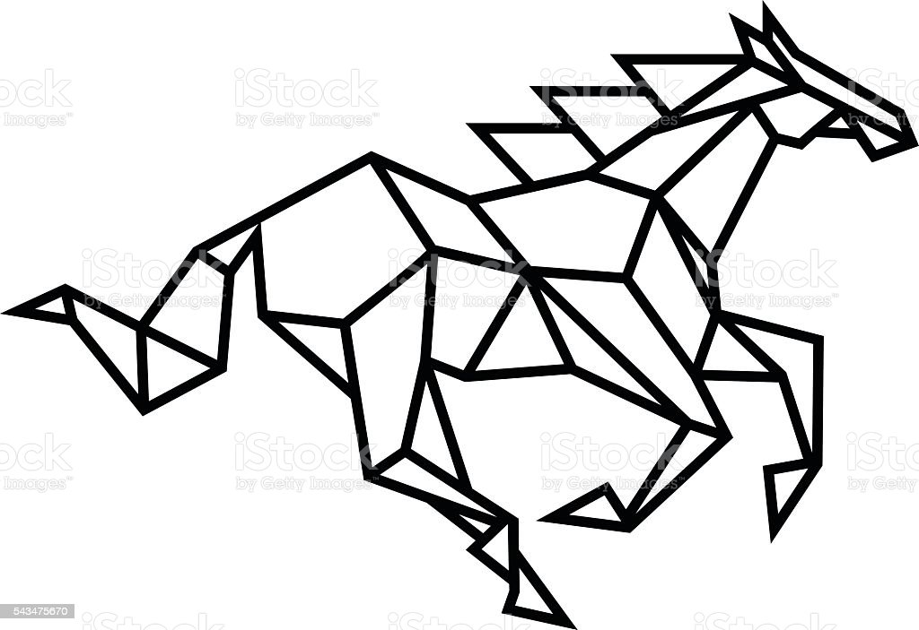 Stylized horse vector art illustration