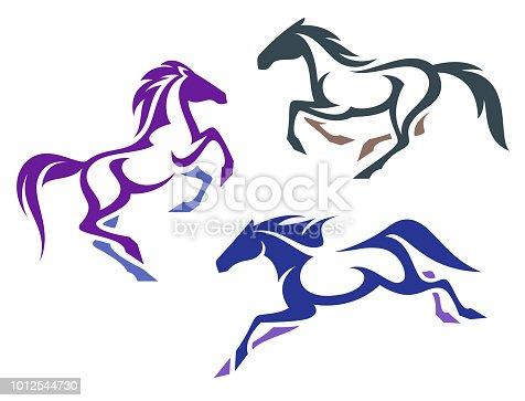 Stylized running Horses