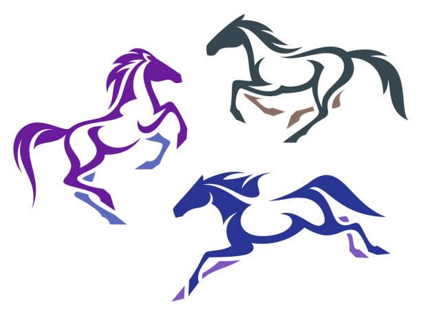 ilustraciones, imágenes clip art, dibujos animados e iconos de stock de estilizados caballos - caballo