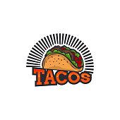 Tacos logo vector illustration. Hot dog sausage silhouette, good for restaurant menu and cafe badge. Vintage typography emblem design.